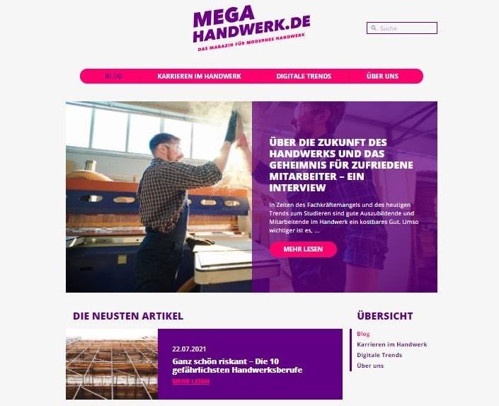 Mega-Handwerk.de - neues Portal über Digitalisierung im Handwerk -